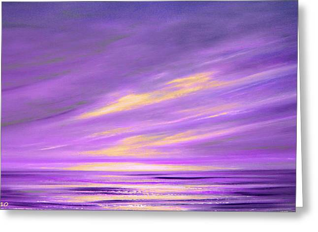 Purple Abstract Sunset Greeting Card