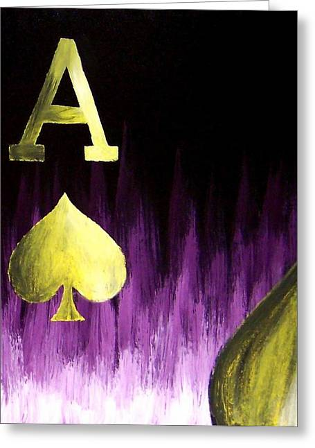 Purple Aces Poker Art4of4 Greeting Card by Teo Alfonso