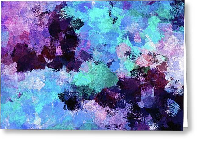 Greeting Card featuring the painting Purple And Blue Abstract Art by Ayse Deniz