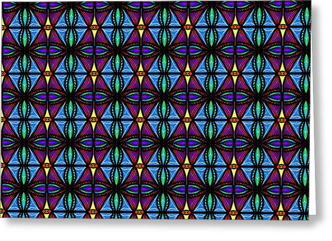 Greeting Card featuring the digital art Purple And Blue Diamonds by Becky Herrera