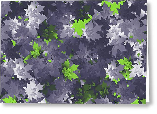 Purple And Green Leaves Greeting Card
