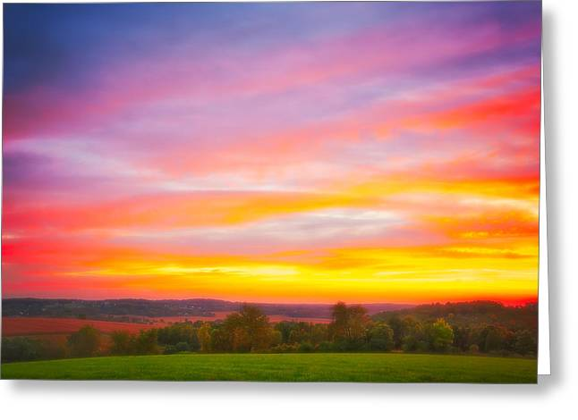 Purple And Red Fall Sunset At Retzer Nature Center - Wisconsin Greeting Card by Jennifer Rondinelli Reilly - Fine Art Photography