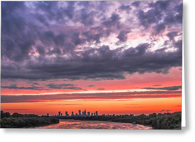 Purple And Red Sky Over Warsaw And Vistula River Greeting Card