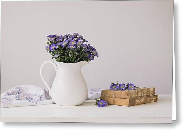 Purple Aster Still Life Greeting Card