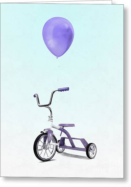 Purple Balloon Purple Tricycle Greeting Card