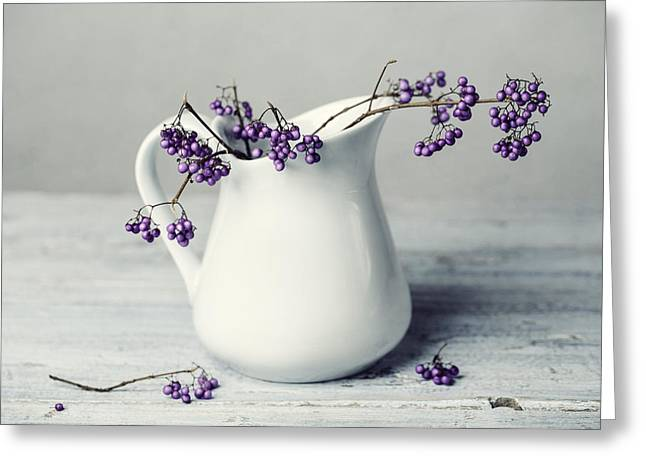 Purple Berries Greeting Card by Nailia Schwarz