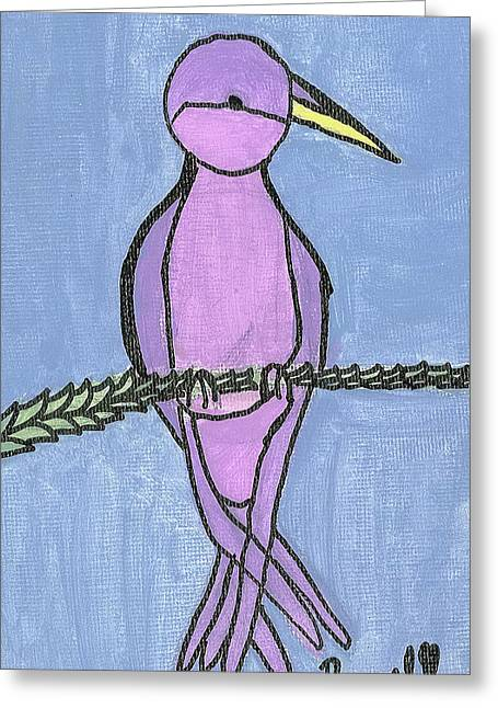 Greeting Card featuring the painting Purple Bird Perched by Fred Hanna