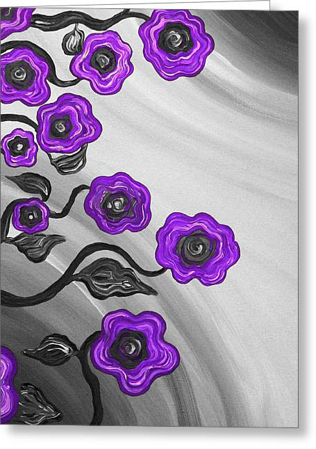Purple Blooms Greeting Card by Brenda Higginson