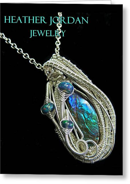 Purple Blue And Green Ammolite Wire-wrapped Pendant In Sterling Silver With Ethiopian Opals Amltpss3 Greeting Card by Heather Jordan