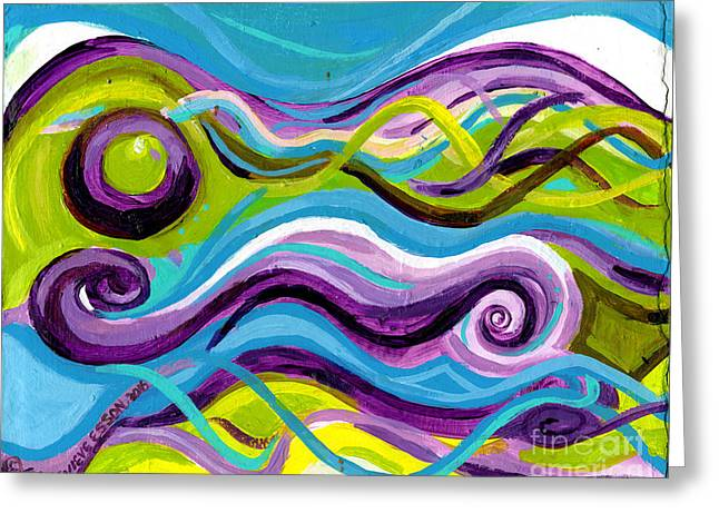 Purple Blue And Green Waves Greeting Card
