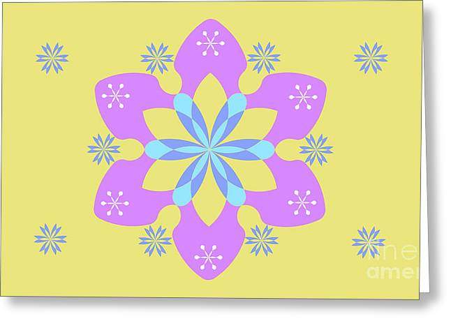 Purple, Blue And Yellow Abstract Star Greeting Card by Pablo Franchi