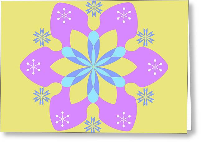Purple, Blue And Yellow Square Abstract Star Greeting Card by Pablo Franchi
