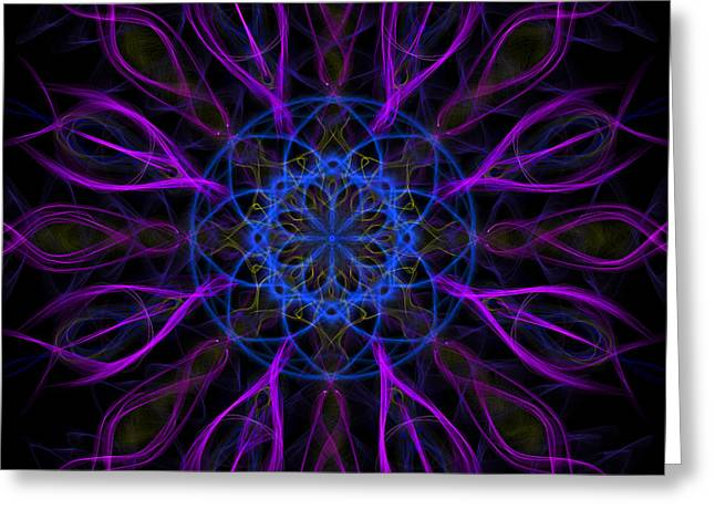 Purple Blue Kaleidoscope Square Greeting Card by Adam Romanowicz