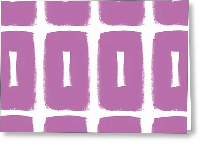 Purple Boxes- Art By Linda Woods Greeting Card