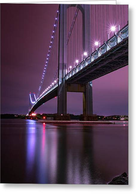 Greeting Card featuring the photograph Purple Bridge by Edgars Erglis