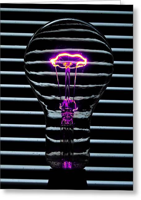 Purple Bulb Greeting Card by Rob Hawkins