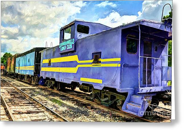 Purple Caboose Greeting Card by Mel Steinhauer