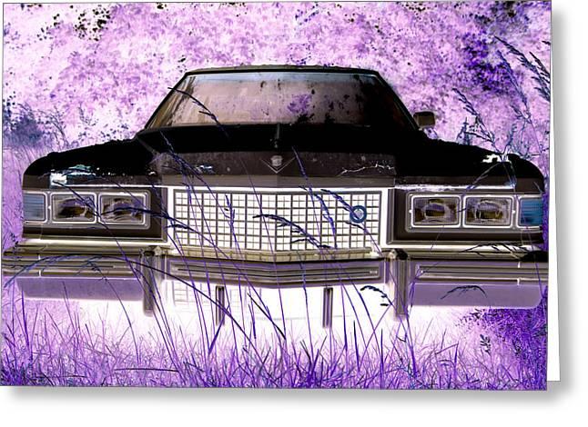 Purple Cadillac Greeting Card by Julie Niemela