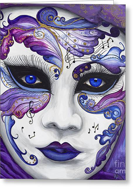 Purple Carnival Mask  Greeting Card by Patty Vicknair