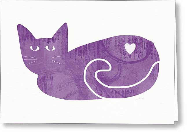 Purple Cat- Art By Linda Woods Greeting Card by Linda Woods