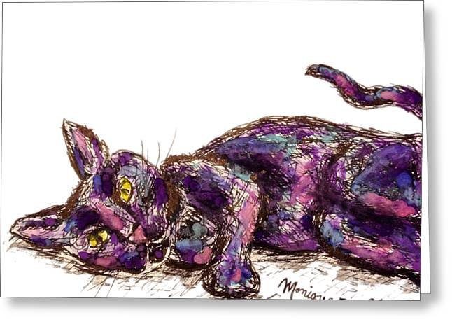 Purple Cat Greeting Card