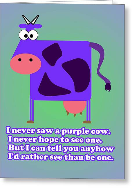 Caruso Greeting Cards - Purple Cow Greeting Card by Anthony Caruso