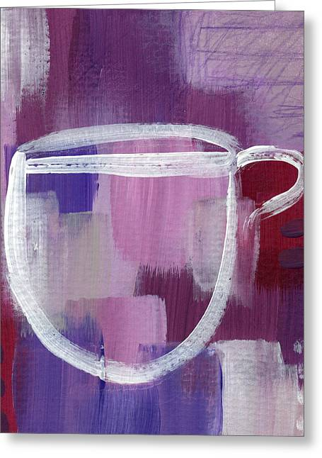 Purple Cup- Art By Linda Woods Greeting Card