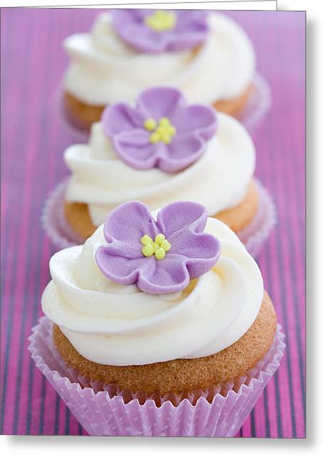 Cup Cakes Greeting Cards - Purple cupcakes Greeting Card by Ruth Black