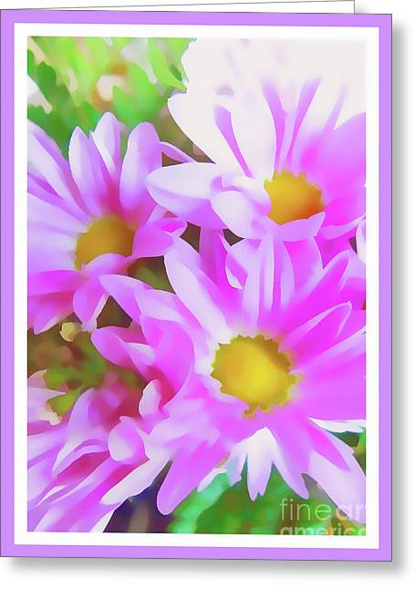 Purple Daisy Poster Greeting Card by Susan Lafleur