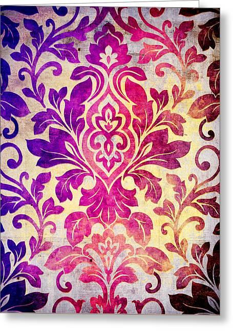 Purple Damask Pattern Greeting Card