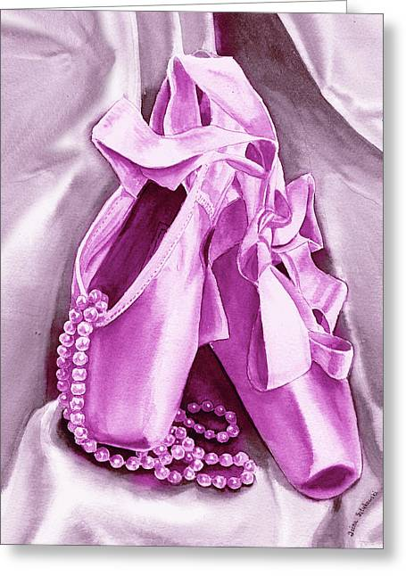 Purple Dancing Shoes Greeting Card by Irina Sztukowski