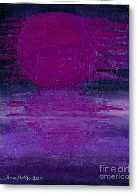 Greeting Card featuring the painting Purple Dawn by Ania M Milo