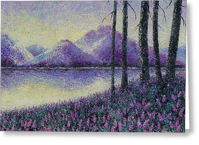 Greeting Card featuring the painting Purple Daze by Susan DeLain