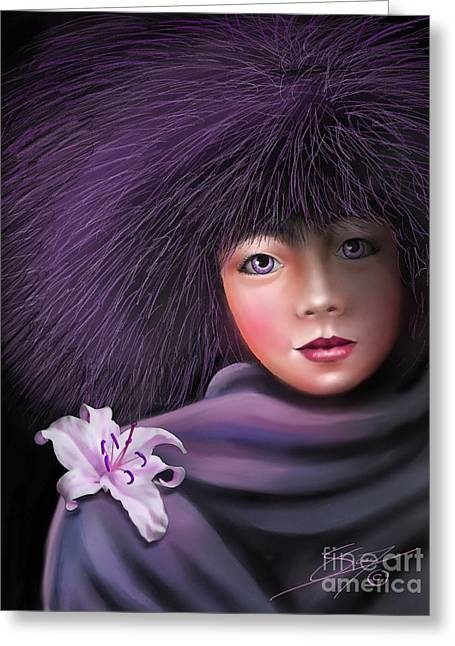 Greeting Card featuring the painting Purple Delight by S G
