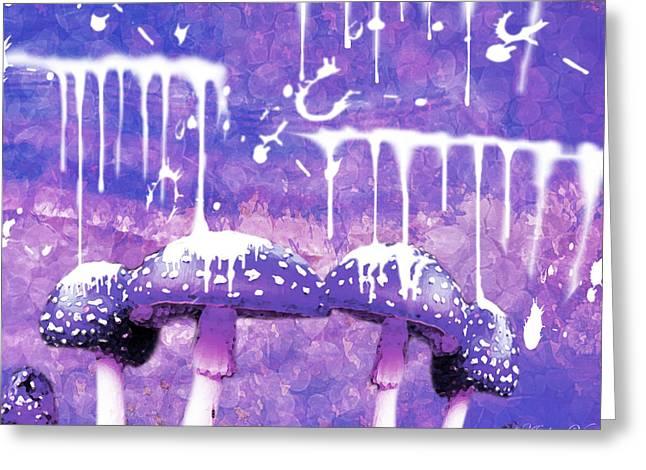 Purple Mushrooms Digital Greeting Cards - Purple Dreams Greeting Card by Amber Vitek