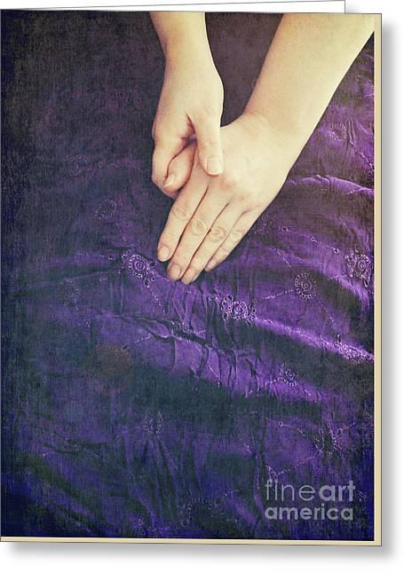 Purple Dress Greeting Card by Lyn Randle