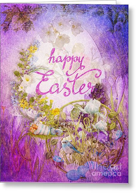 Purple Easter Greeting Card by Mo T