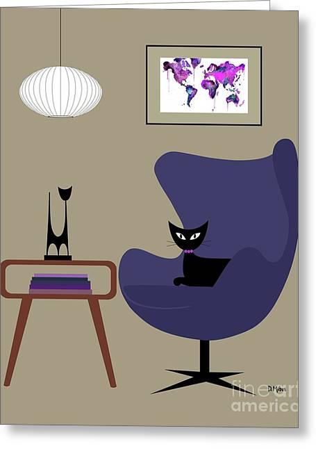 Purple Egg Chair Greeting Card