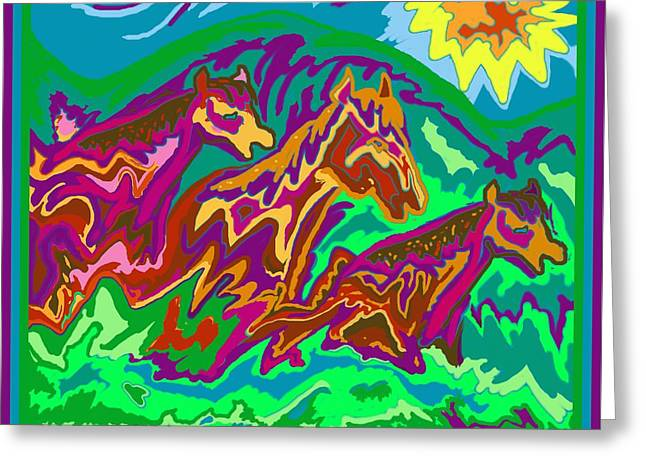 Purple Feathered Horses Greeting Card