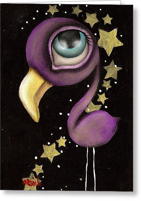 Purple Flamingo Greeting Card by  Abril Andrade Griffith
