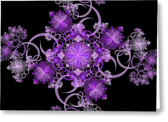 Purple Floral Celebration Greeting Card by Sandy Keeton
