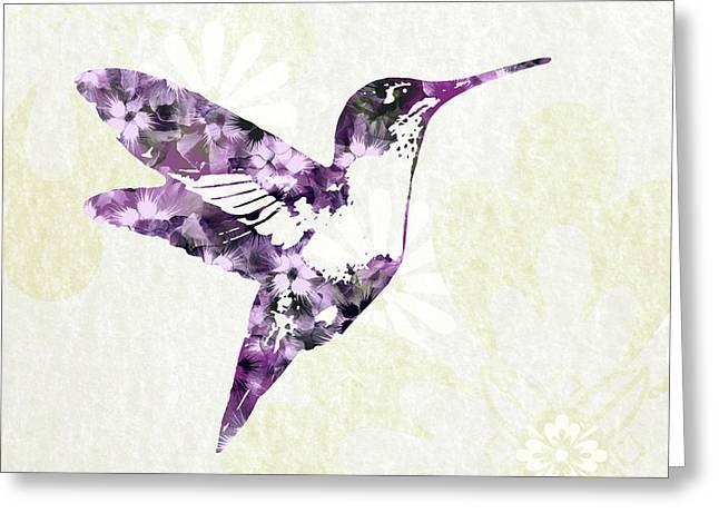 Purple Floral Hummingbird Art Greeting Card