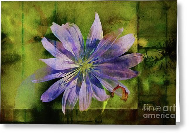 Purple Flower Abstract Greeting Card by Deborah Benoit