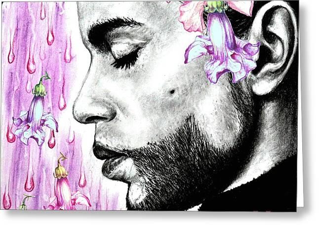 Purple Flower Rain  Prince, Roger Nelson Greeting Card by Heidi Kriel