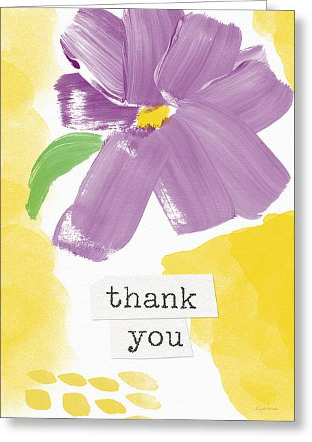 Purple Flower Thank You Card- Art By Linda Woods Greeting Card