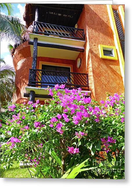 Greeting Card featuring the photograph Purple Flowers By The Balcony by Francesca Mackenney