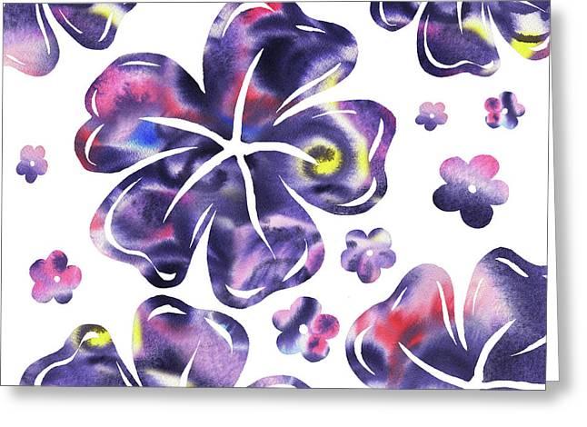 Purple Flowers Dance Greeting Card