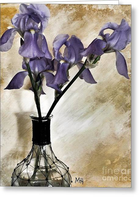 Purple Flowers In A Vase Greeting Card