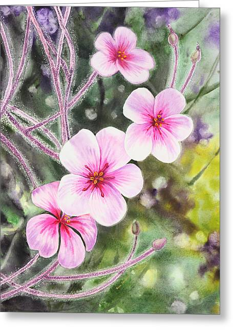 Greeting Card featuring the painting Purple Flowers In Golden Gate Park San Francisco by Irina Sztukowski