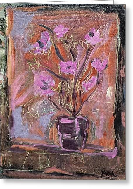 Purple Flowers In Vase Greeting Card